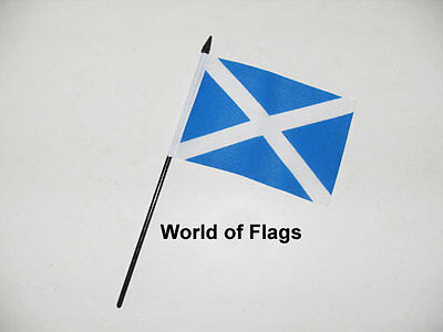 "ST ANDREWS SMALL HAND WAVING FLAG 6"" x 4"" Light Blue Scotland Andrew Cross Table"