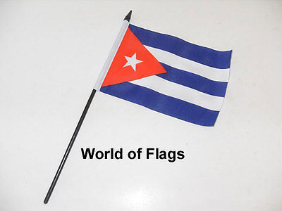 "CUBA SMALL HAND WAVING FLAG 6"" x 4"" Cuban Crafts Table Desk Top Display"