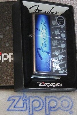 ZIPPO  MUSIC Lighter FENDER  GUITAR Gray Dusk BLUE Repeat Background MINT in Box