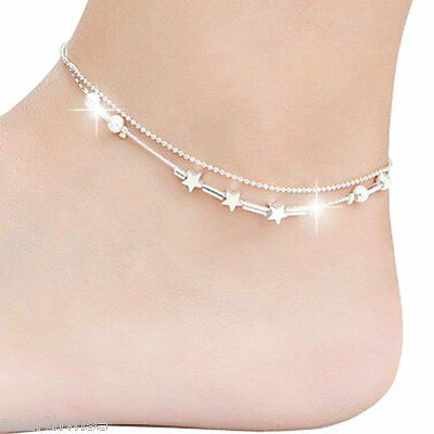 ANKLET: SILVER WITH METAL STARS Wicca Witch Pagan Belly Dance Goth Hippie