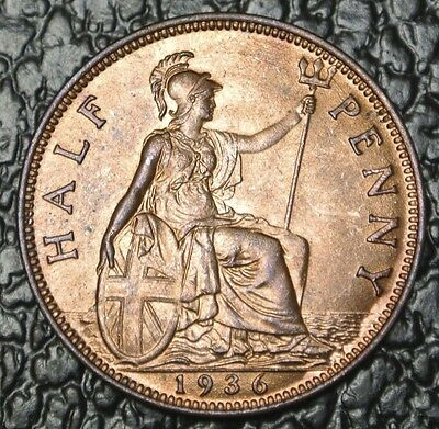 1936 GREAT BRITAIN - HALF PENNY - George V - WWII era - Gorgeous Coin