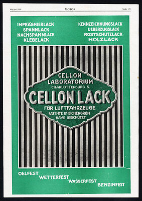 Antique Print-ADVERTISING-AIRSHIP MANUFACTURING-LINDAU-CELLON LACK-PAINT-1918