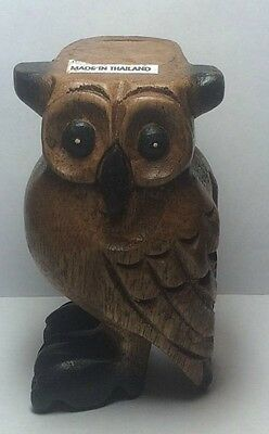 Owl Whistle From Thailand. New Hand Carved Wooden Hand Painted Hooting Sound.