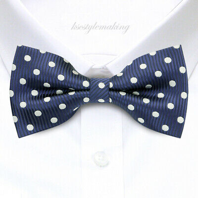 Brand New Blue and Gray Polka dot Jacquard Adjustable Bow tie for Mens B1168
