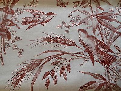 Antique French Bordeaux Bird Botanical Cotton Fabric ~ Butterfly Wheat