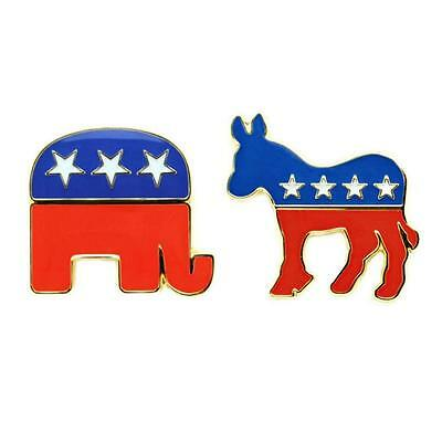 DEMOCRATIC DONKEY REPUBLICAN ELEPHANT PIN Political Party Mascot Election Metal