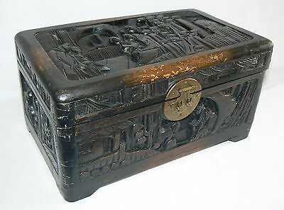 Camphor Box Chinese Antique High Relief Treasure Chest Jewelry Box Storage 12X6