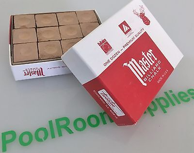 Quality Fine Master Pool Snooker Billiard Table Cue Tip Chalk Tan Brown Colour