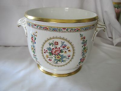 Coalport handled footed urn floral medallions heavy gold rims England