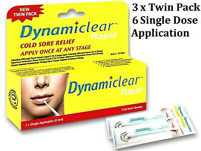 3 x Single Application ( 0.5ml ) DYNAMICLEAR RAPID (suits cold sore application)