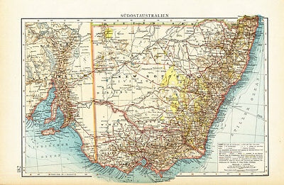 Antique Map-SOUTH EAST AUSTRALIA-VICTORIA-NEW SOUTH WALES-Andree-1904