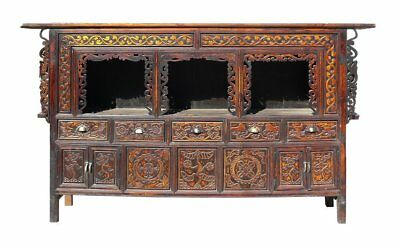 China Brown Wood Graphic Carving Altar Table Cabinet Storage mh291