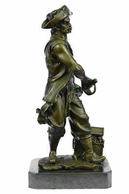 Bronze Vintage Art Deco French Style Metal Figural Pirate Chest Hot Cast Decor