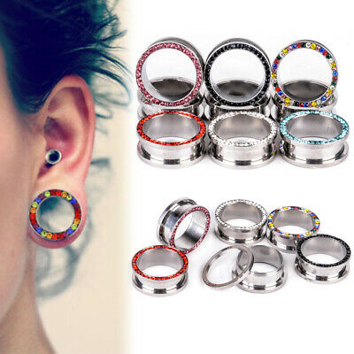 Fashion Crystal Stainless Steel Flared Ear Stretcher Flesh Tunnel Plugs Piercing