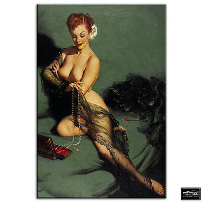 Vintage Girl   Retro Pin-ups Nude BOX FRAMED CANVAS ART Picture HDR 280gsm