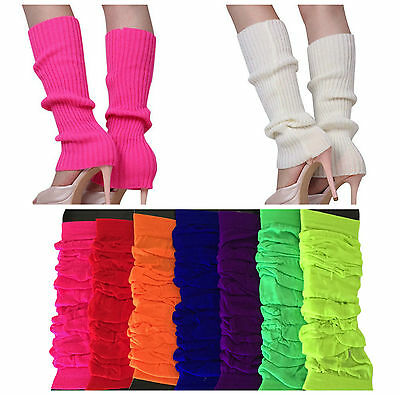 LEG WARMERS Stocking Legging High Knitted Womens Neon Party Knit Ankle Socks New