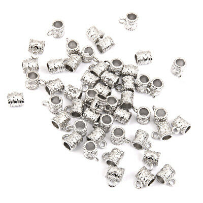 50pcs Antique Silver Bail Cup Spacer Beads Pendant Hanger Jewelry Findings