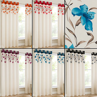 Lily Pair Ring Top Eyelet Fully Lined Ready Made Curtains Red Black Cream Blue