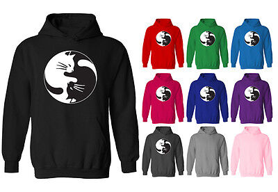 Womens Cat Yin Yang Kitty Funny Cute Symbol Pullover Hoodie NEW UK 12-20