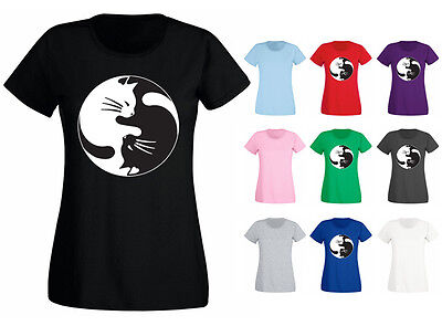 Womens Cat Yin Yang Kitty Funny Cute Symbol T-shirt NEW UK 6-18