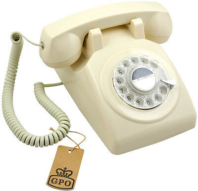 GPO 1970s Traditional Rotary Dial Phone Classic British Design Telephone - Ivory