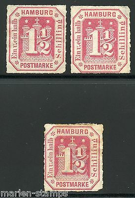 German States Hamburg Sc#25, Michel#21 Mint   Lot Of Three   No Gum