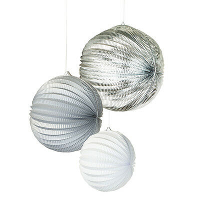 Hanging Paper Lanterns Silver / Grey / White x 3 Wedding / Christmas Party