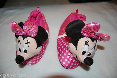 Toddler Girls Slippers MINNIE MOUSE Head PINK Bow S 5-6 M 7-8 L 9-10 XL 11-12