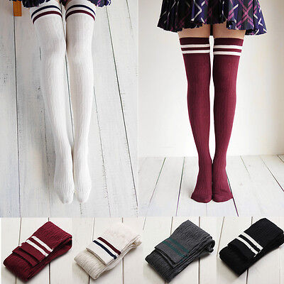 Girls Women  College Style Long Over The Knee Thigh High Stripe Socks Stockings