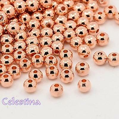 25 x Brass Spacer Beads Round Rose Gold 3mm Hole: 1mm - Seed Beads