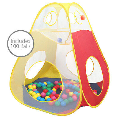 Charles Bentley Pop Up Ball Pit Play Tent  Includes 100 Plastic Balls Age 3+