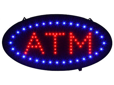 """19""""x10"""" Ultra Bright LED Neon Light Animated Motion ON/OFF ATM Machine Open Sign"""