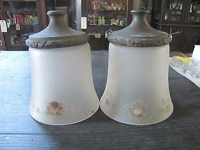 Two Reverse Painted Frosted Glass Floral Shades W/ Fitters  (3266)