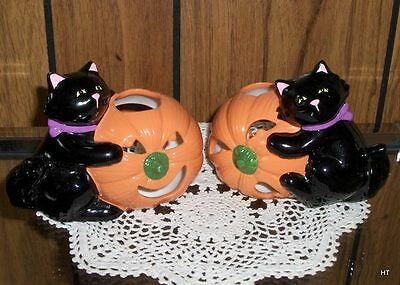 Set Of 2 Gorgeous  Porcelain Halloween Candleholders