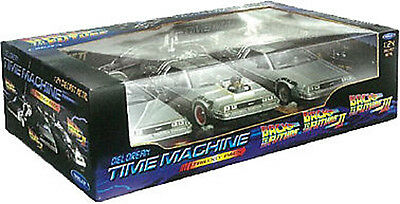 NEW Back to the Future 1 2 3 Diecast DeLorean Car Time 1:24 Trilogy Triple Pack