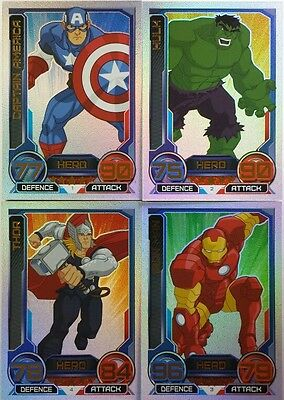 MARVEL HERO ATTAX Series 3 RAINBOW Foil Card Set   ( 16 ) UK   2014  Topps