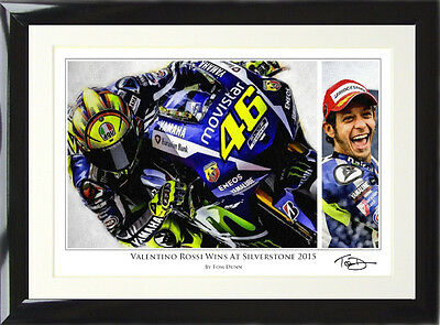 Valentino Rossi Art Print Signed by Artist MotoGP Yamaha Win at Silverstone 2015