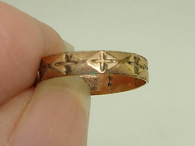 Victorian Rose Gold Wash Baby Ring With Crosses! Sz 1 3/4