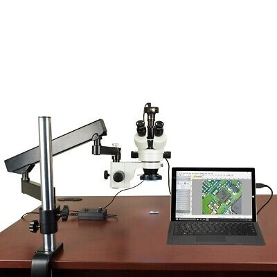 3.5X-90X 10MP Digital Articulating Stand Zoom Stereo Microscope 144 LED Light