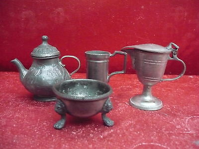 4 Old, Small Tin Parts Can Jugs Foot Bowl!