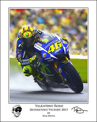Valentino Rossi Silverstone Victory 2015 Art Print Signed by Artist MotoGP Yam