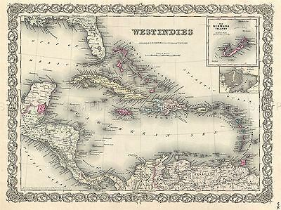 1855 Colton Map The West Indies Vintage Repro Poster Art Picture 2915Pylv