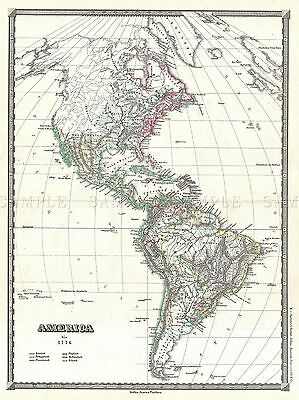 1855 Spruner Map The Americas Up To 1776 Vintage Poster Art Print 2928Pylv