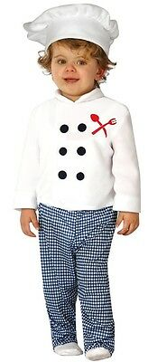 Baby Boys Girls Chef Cook Job Uniform Fancy Dress Costume Outfit 6-12 12-24ms