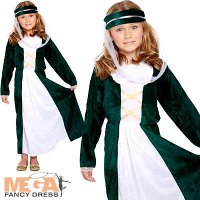 Medieval Maiden Girls Fancy Dress Historic Tudor Maid Marion Kids Childs Costume