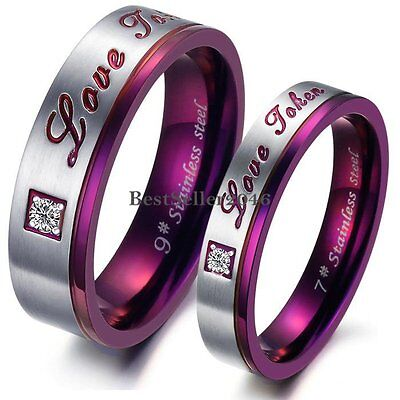 """ Love Token "" Stainless Steel Engagement Promise Ring Couples Wedding Band"