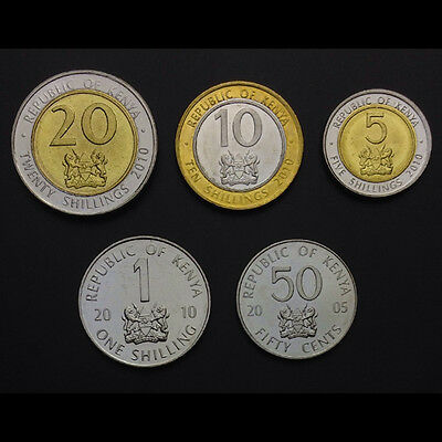 Kenya Set 5 Coins, 50 Cents 1+5+10+20 Shillings, 2005-2010, UNC