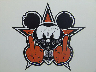 Orange Oldschool BAD Mickey Sticker Aufkleber Biker Autoaufkleber Fuck off