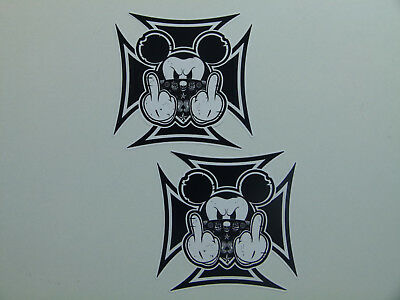 "2 x Oldschool Aufkleber "" Eisernes Kreuz Mickey Fuck off "" US Car Rockabilly V8"