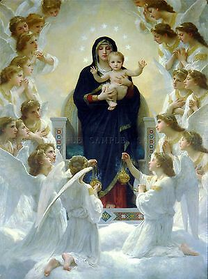 William Adolphe Bouguereau Virgin With Angels Old Art Painting Print 3156Oma